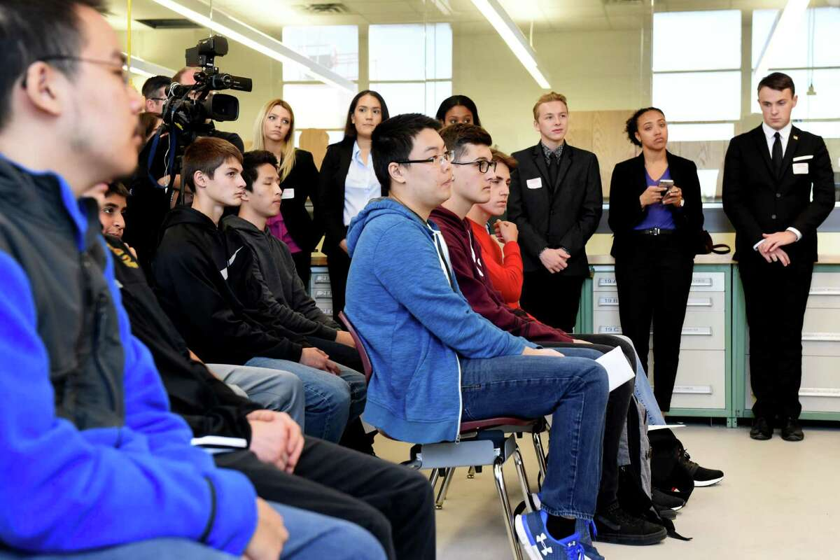 Colonie High School students listen as Sen. Kirsten Gillibrand announces her bipartisan legislation, the 21st Century Strengthening Hands On Programs that Cultivate Learning Approaches for Successful Students Act on Monday, Oct. 2, 2017, in Colonie, N.Y. (Will Waldron/Times Union)