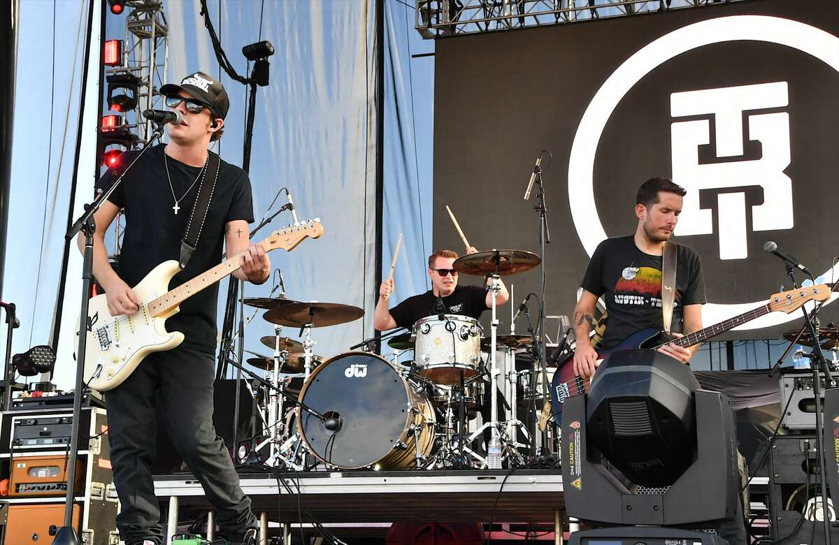 Recording artist Tucker Beathard (L) performs during the Route 91 Harvest country music festival at the Las Vegas Village on September 29, 2017 in Las Vegas, Nevada.