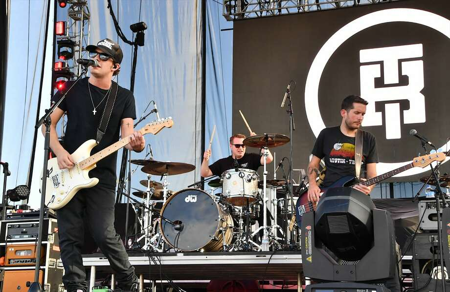 Recording artist Tucker Beathard (L) performs during the Route 91 Harvest country music festival at the Las Vegas Village on September 29, 2017 in Las Vegas, Nevada. Photo: Mindy Small/FilmMagic