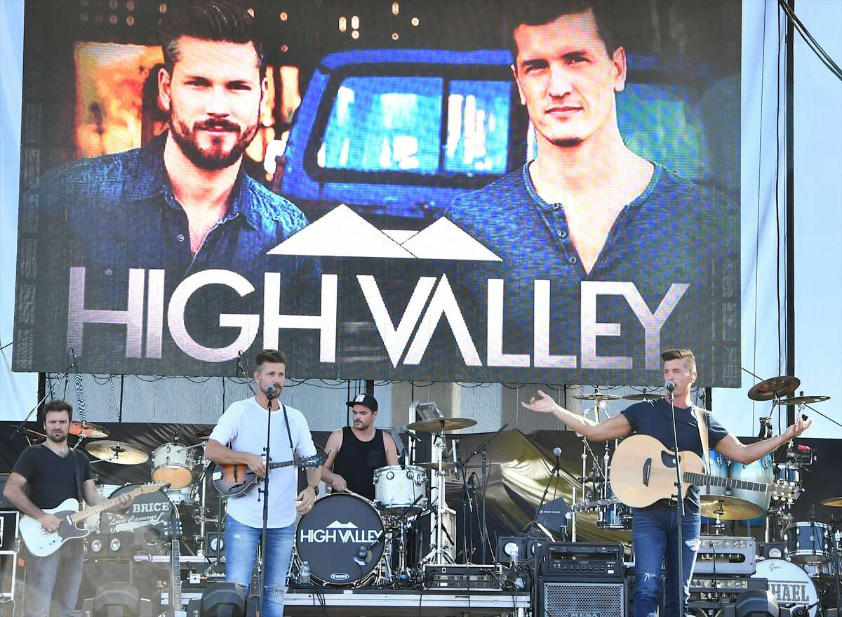 Recording artists Curtis Rempel (L) and Brad Rempel of High Valley perform during the Route 91 Harvest country music festival at the Las Vegas Village on September 29, 2017 in Las Vegas, Nevada.