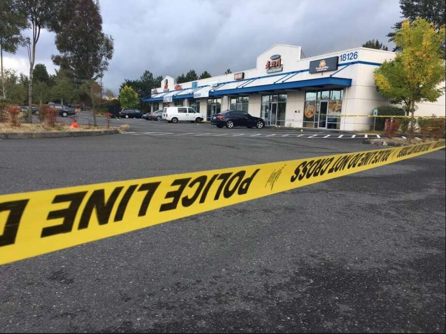 Kent police confirmed Monday morning that a second person has died in  connection with a Sunday morning shooting in front of a strip mall. Photo: KOMO