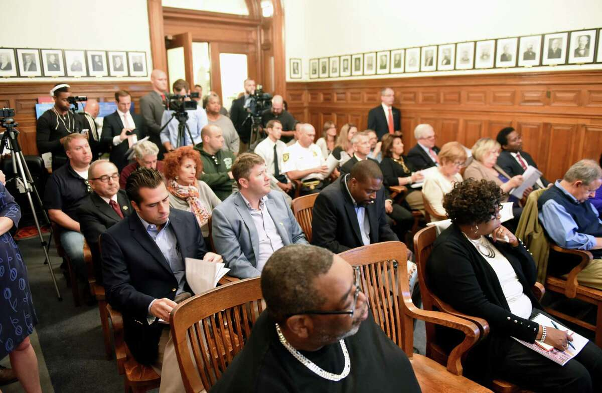 Common Council members, guests and officials listen as Albany Mayor Kathy Sheehan presents her 2018 budget proposal during a presentation at City Hall on Monday, Oct. 2, 2017, in Albany, N.Y. (Will Waldron/Times Union)