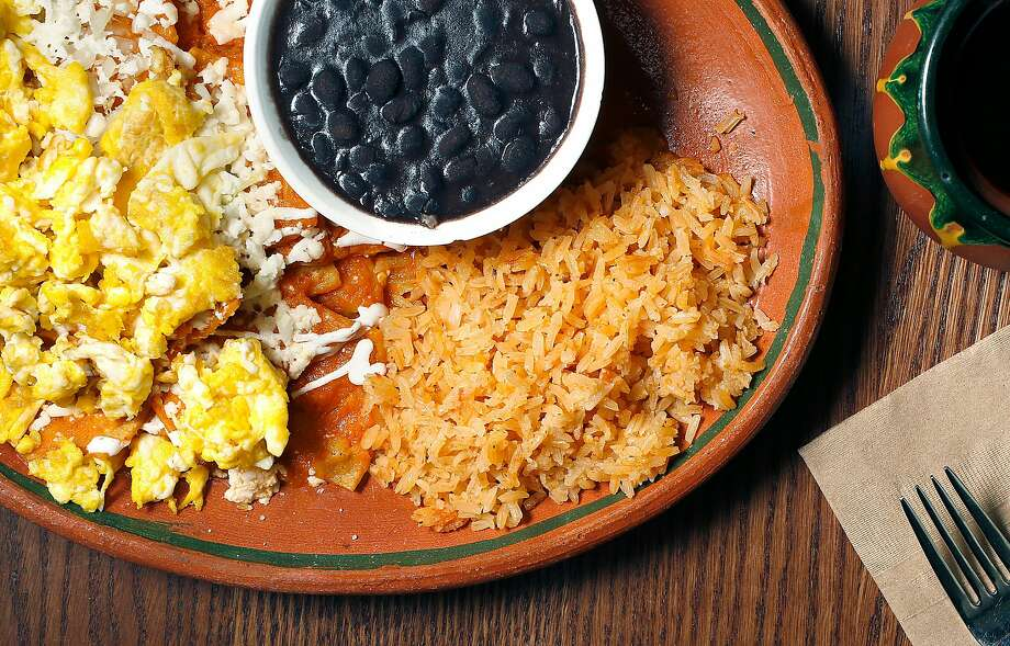 Egg chilaquiles with beans and rice at El Buen Comer. Photo: Liz Hafalia, The Chronicle