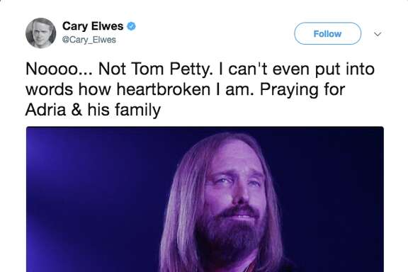 Celebrities react via social media to news that musician Tom Petty died Monday.