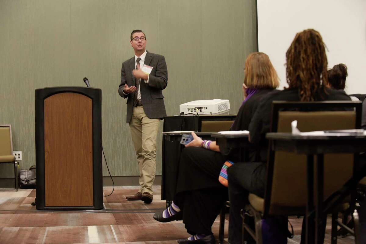 Keith Brown, director of Health and Harm Reduction at Katal Center for Health, Equity and Justice addresses those gathered for a panel discussion on alternatives to incarceration at the New York State Recovery Conference on Monday, Oct. 2, 2017, in Albany, N.Y. (Paul Buckowski / Times Union)