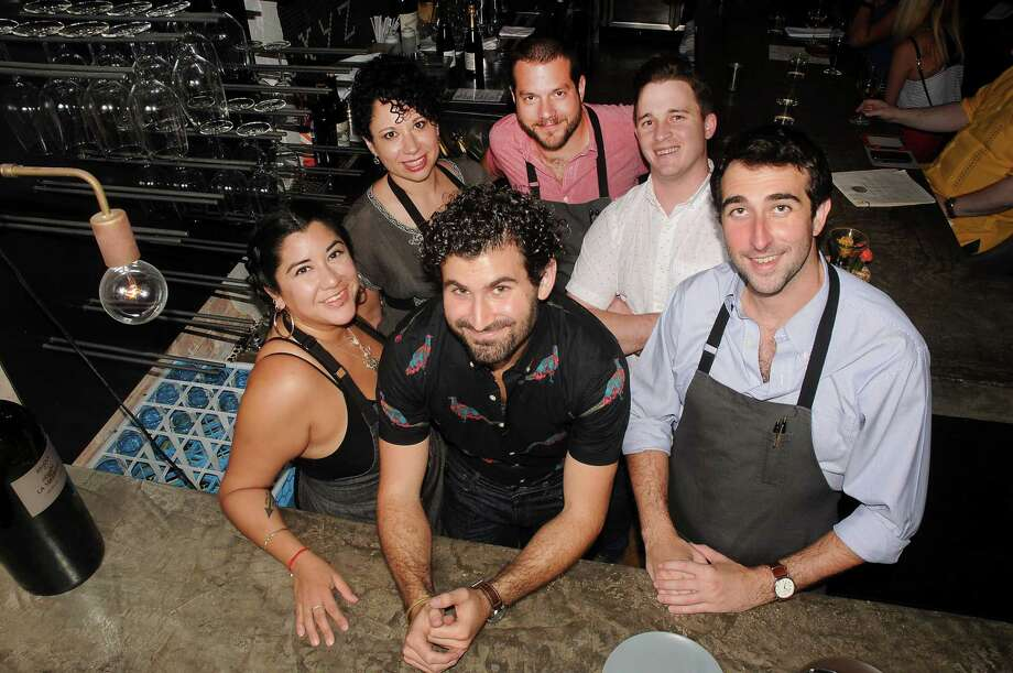 Wine director Chris Poldoian, center, credits the success of Camerata at Paulie's to his team, clockwise from left, Luna Lugo, Monica Townsend, Tony Stein, Danny Steiner and Sean McNeely. Photo: Dave Rossman, Freelance / Dave Rossman