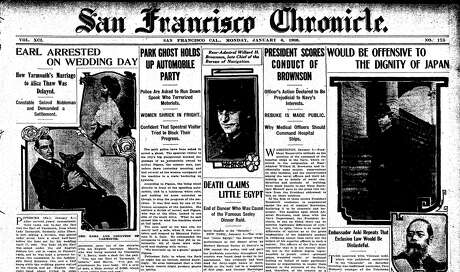 """The 1908 front-page story on the """"ghost"""" of Golden Gate Park. Photo: San Francisco Chronicle/Archives"""