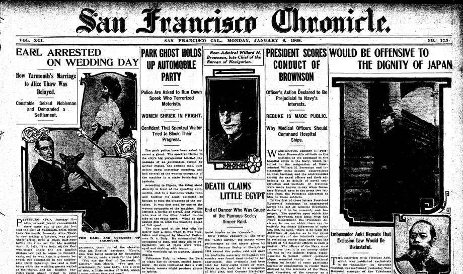 "The 1908 front-page story on the ""ghost"" of Golden Gate Park. Photo: San Francisco Chronicle/Archives"