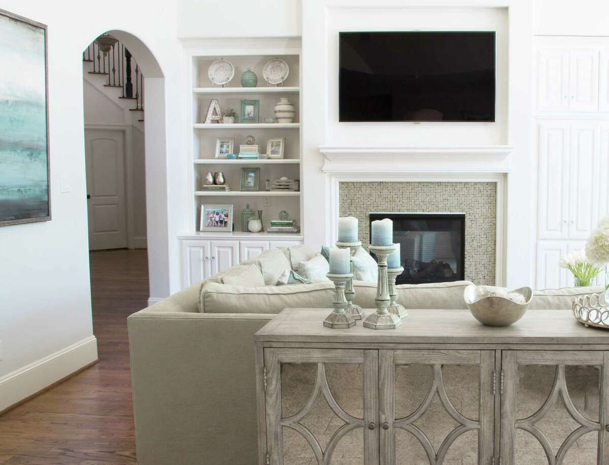 The family room in the Memorial home of Courtney and Karrie Amor.