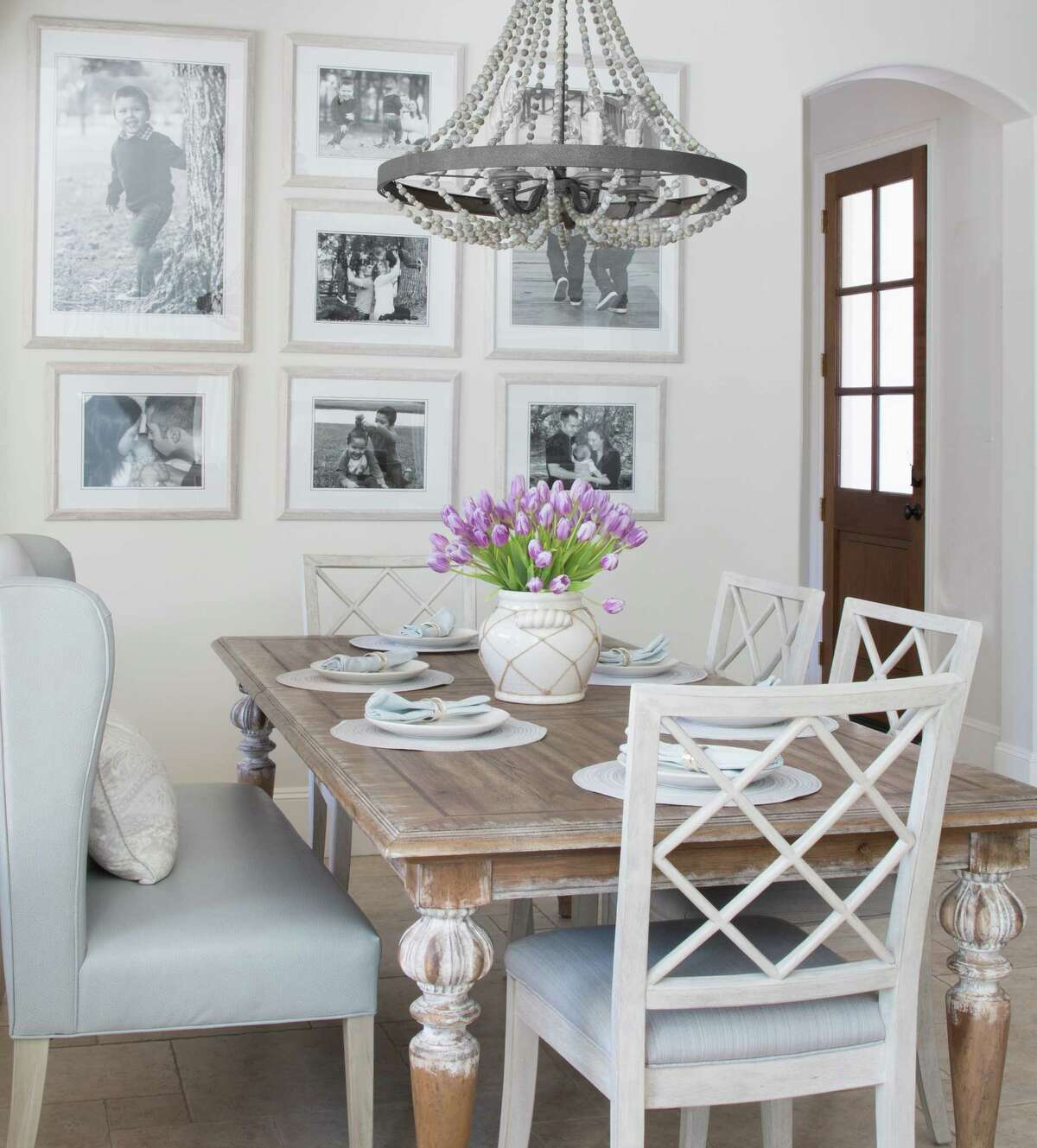 The breakfast room in the Memorial home of Courtney and Karrie Amor.