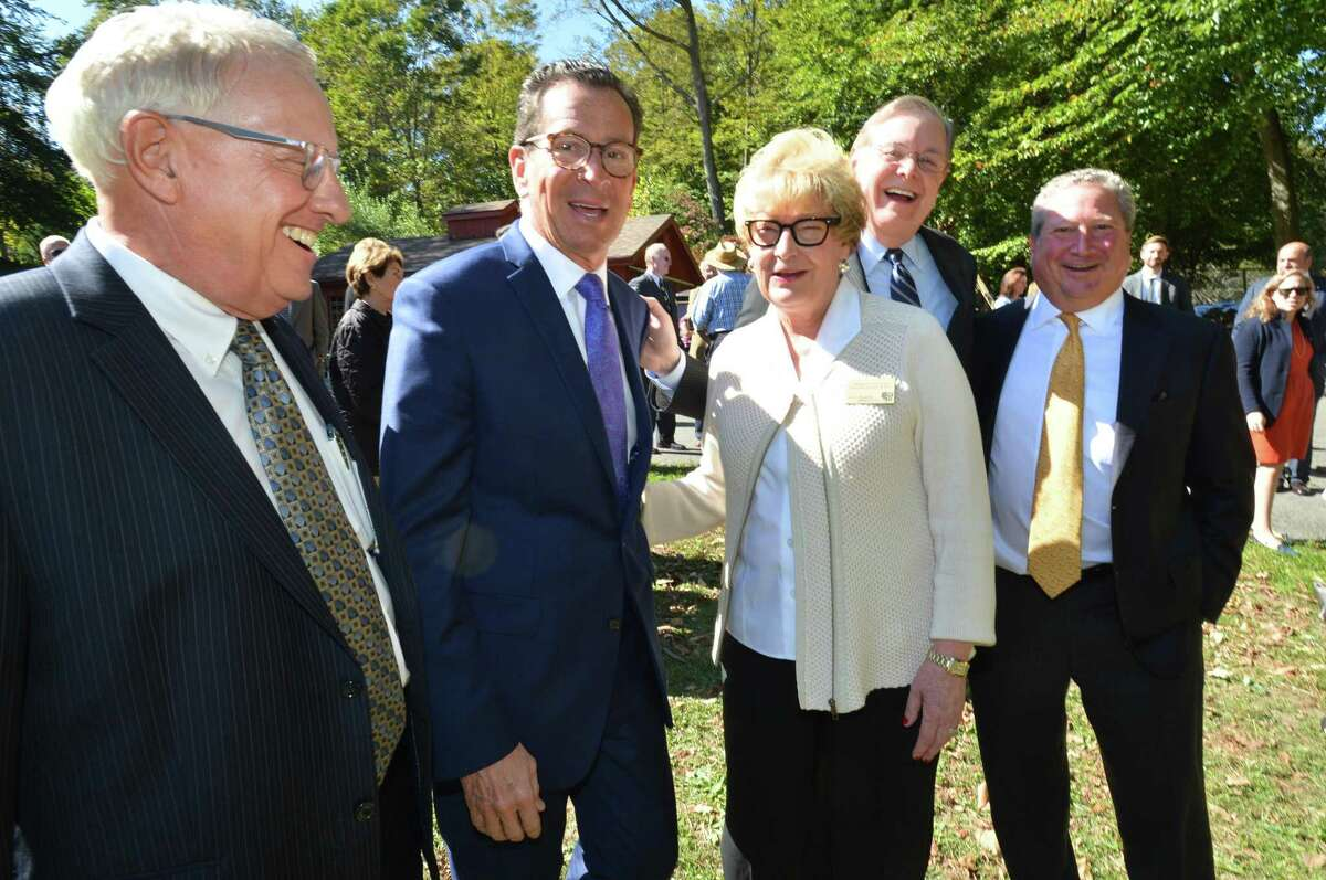 Stamford Museum and Nature Center Environmental Education Farmhouse groundbreaking L-R SM&NC Executive Vice President, Board of Directors Harry Day, Governor Dan Malloy, SM&NC Executive Director and CEO Melissa Mulrooney, Stamford Mayor David Martin, SM&NC Board of Directors President William Aron, on Monday October 2, 2017 in Stamford Conn.