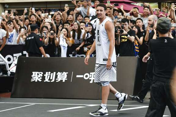 Klay Thompson of the Golden State Warriors meets fans on July 1, 2017 in Guangzhou, Guangdong Province of China.