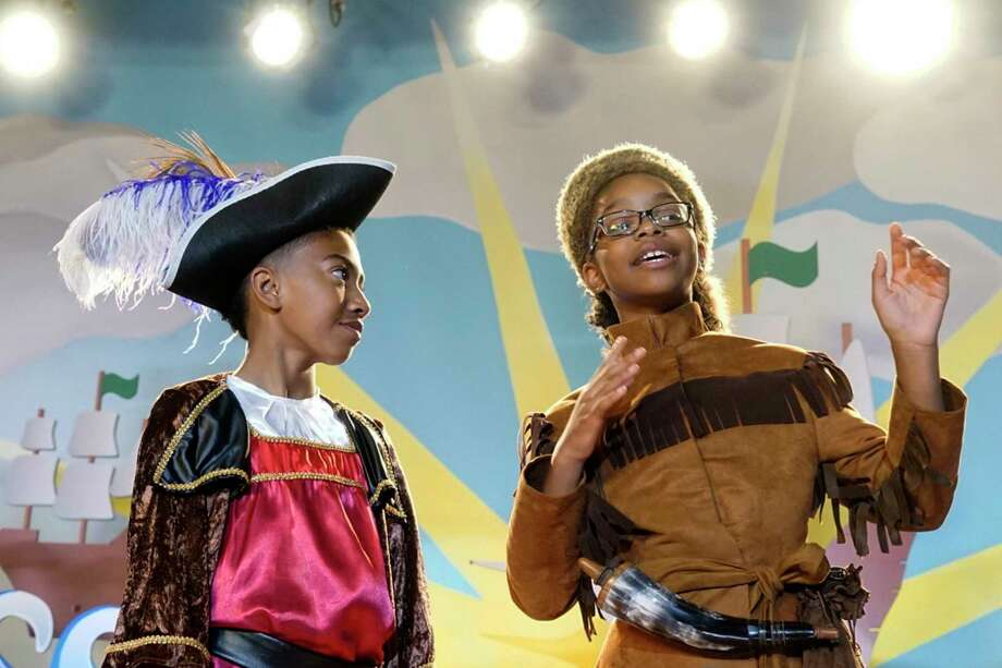 """Diane (Marsai Martin) takes part in a Columbus Day skit at school in the Season 4 premiere of """"black-ish."""" Photo: Kelsey McNeal, HONS / © 2017 American Broadcasting Companies, Inc. All rights reserved."""