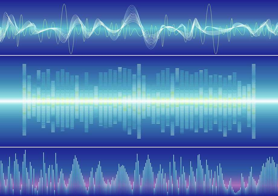 Fotolia    Sound waves on blue background. Music, Sound, Voice / handout / stock agency