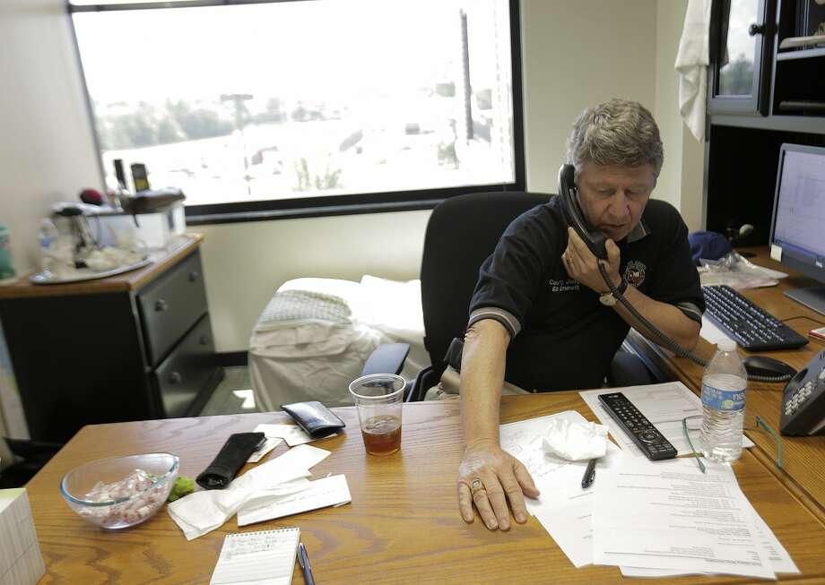 Harris County Judge Ed Emmett talks on the phone in his office on Thursday, August 31, 2017 on Thursday, Aug. 31, 2017, in Houston. ( Elizabeth Conley / Houston Chronicle ) Photo: Elizabeth Conley/Houston Chronicle
