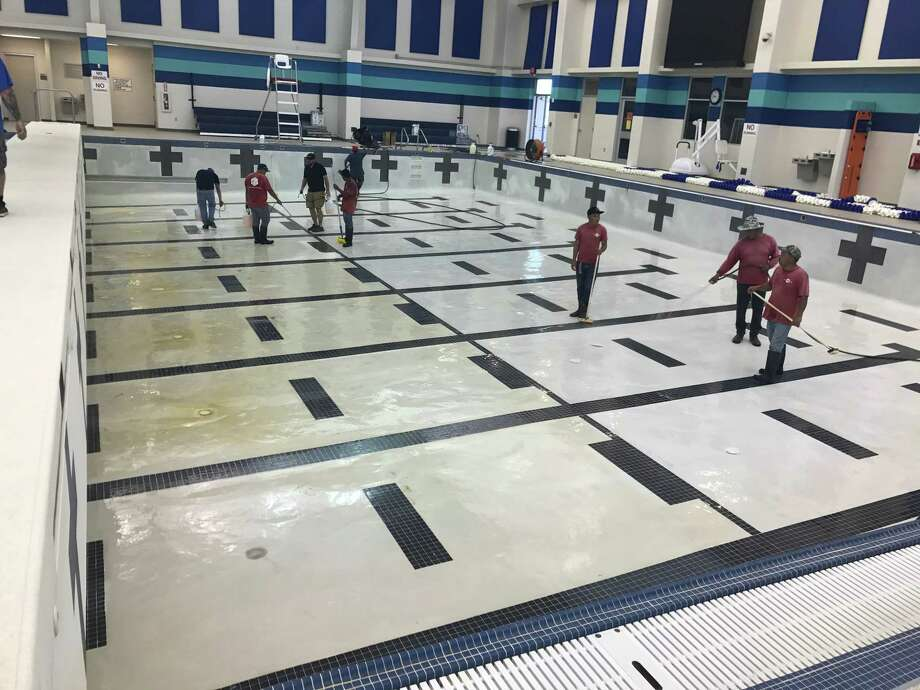 Photos provided by Beaumont ISD show damage to the pool after it was drained before Tropical Storm Harvey. Photo: Beaumont ISD