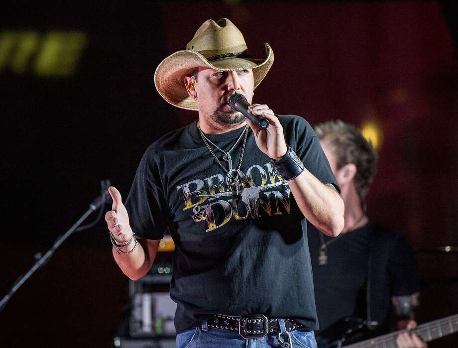 Jason Aldean performs at Music City Center in Nashville, Tenn., in June. On Sunday, he was on stage at the Route 91 Harvest Festival in Las Vegas when a gunman opened fire, killing at least 59 people. Photo: Amy Harris, Associated Press