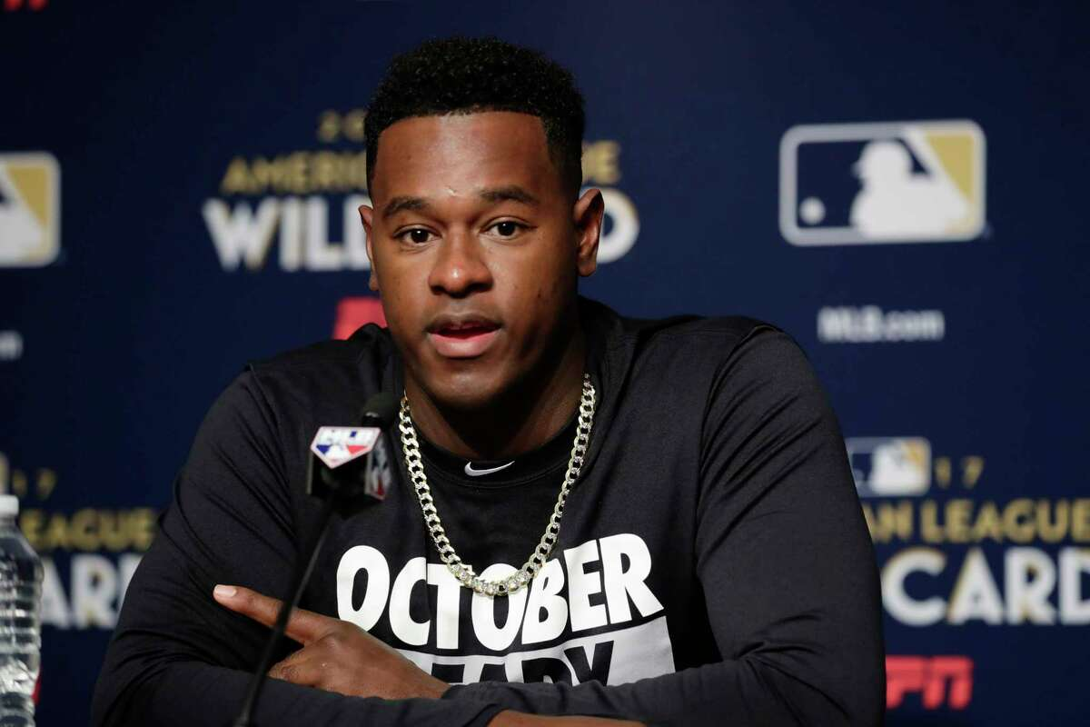 New York Yankees starting pitcher Luis Severino during a baseball news conference Monday, Oct. 2, 2017, in New York. The Yankees host the Minnesota Twins in the American League wild card playoff game on Tuesday. (AP Photo/Frank Franklin II) ORG XMIT: NYY114