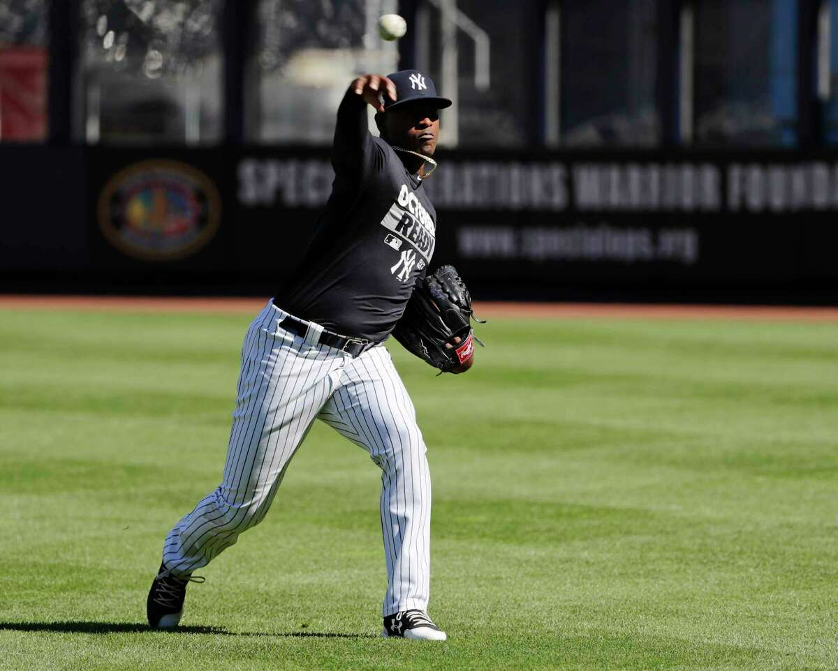 New York Yankees starting pitcher Luis Severino works out at Yankees Stadium, Monday, Oct. 2, 2017, in New York. The Yankees host the Minnesota Twins in the American League wild card playoff baseball game on Tuesday. (AP Photo/Frank Franklin II) ORG XMIT: NYY119