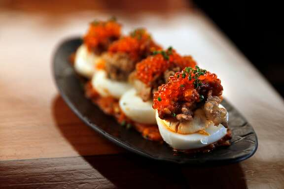 The Fried Oyster Deviled Egg served at Perle, the new restaurant venture by SF restaurant vets, Marcus Garcia and Robert Lam in Oakland, Calif., on Wednesday, September 27, 2017.