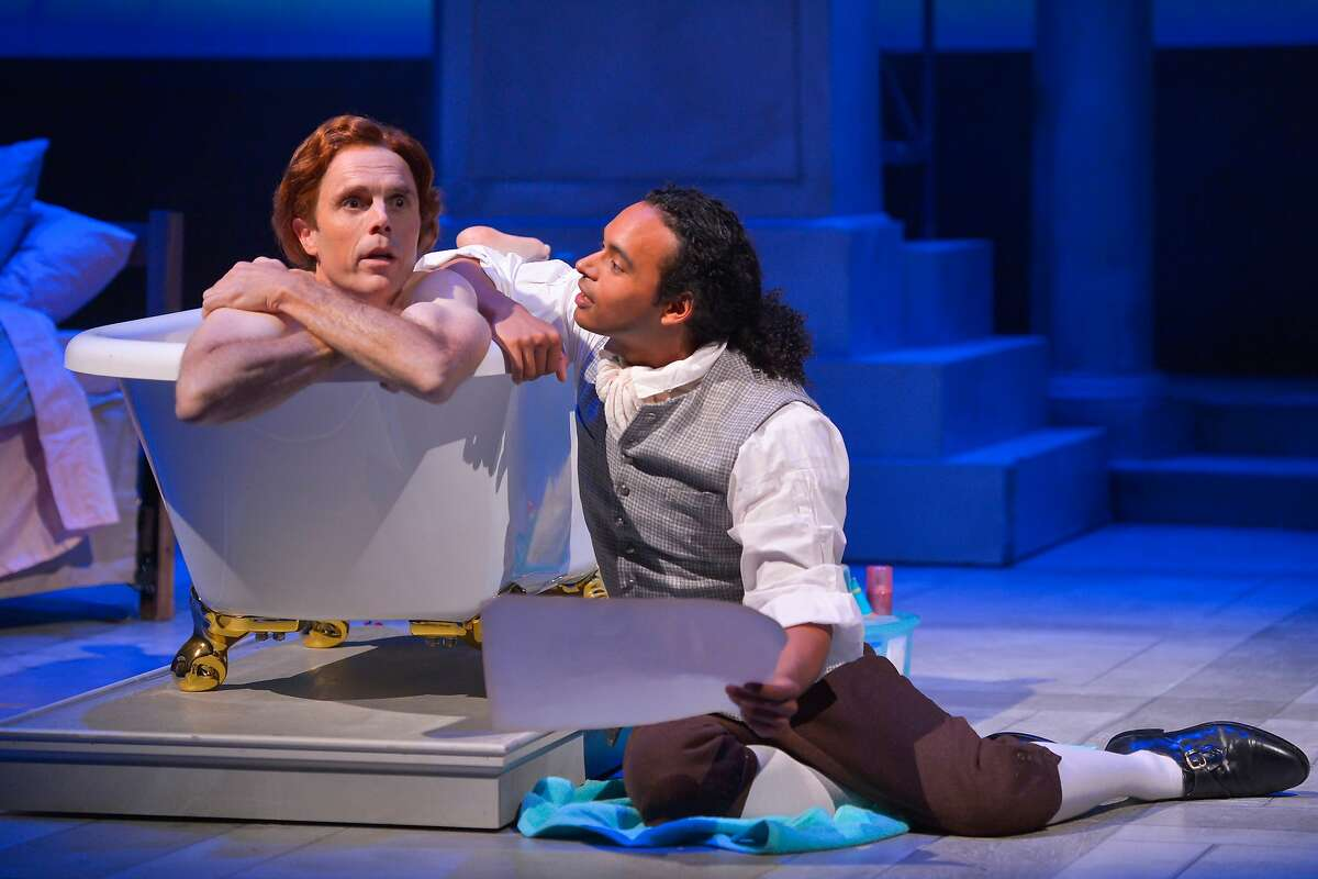 """From left:�Thomas Jefferson (Mark Anderson Phillips) and Robert Hemings (Cameron Matthews) in Marin Theatre Company's """"Thomas and Sally."""""""