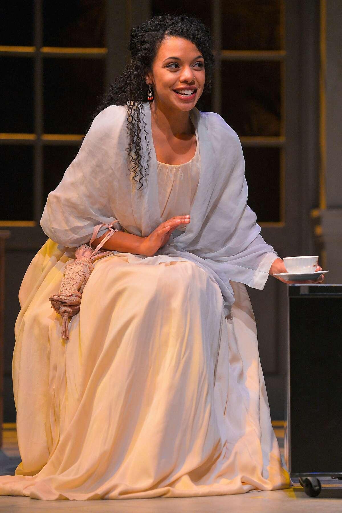 "Sally Hemings (Tara Pacheco) in Marin Theatre Company's ""Thomas and Sally."""