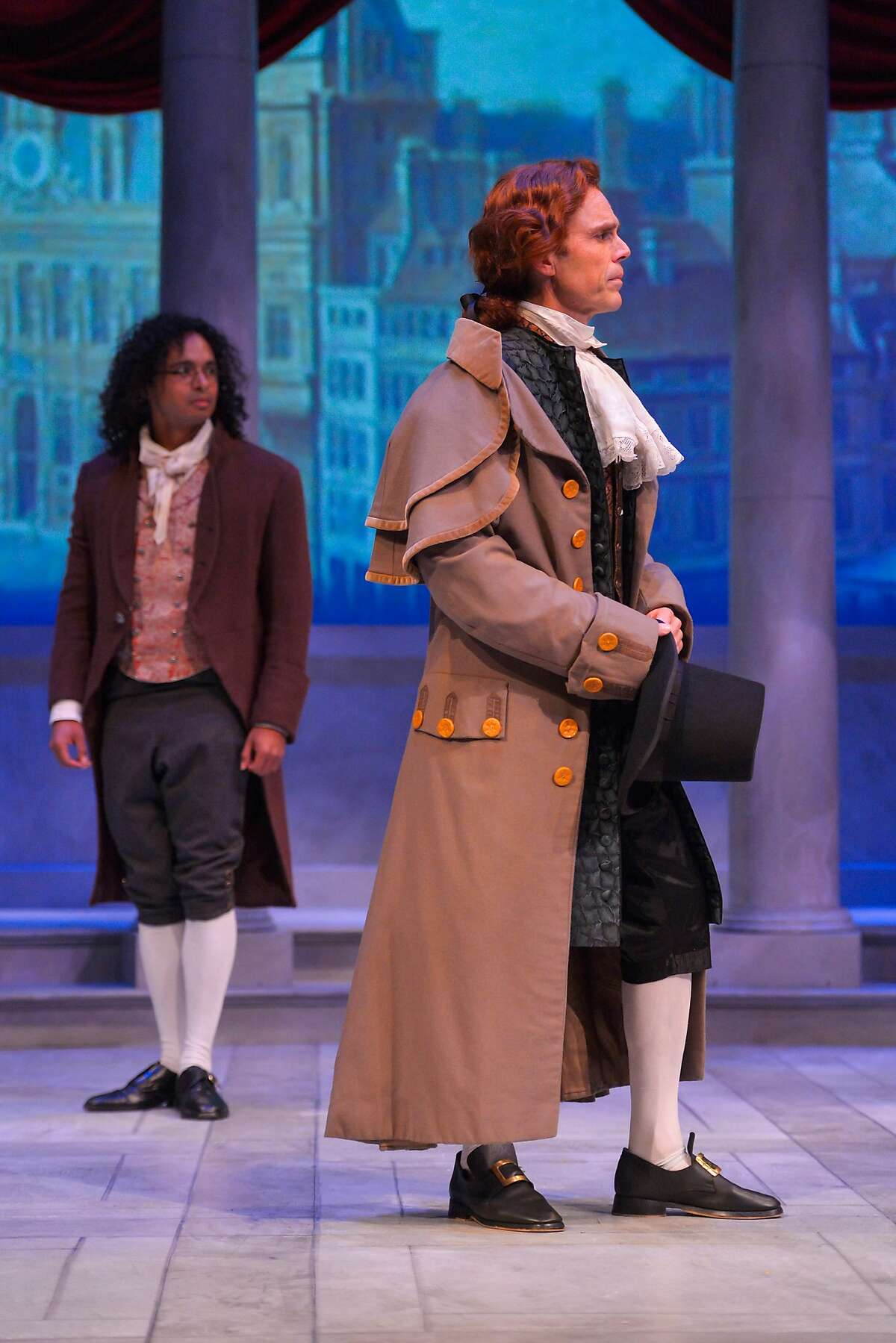 """From left:�Hugo (Cameron Matthews) and�Thomas Jefferson (Mark Anderson Phillips) in Marin Theatre Company's """"Thomas and Sally."""""""