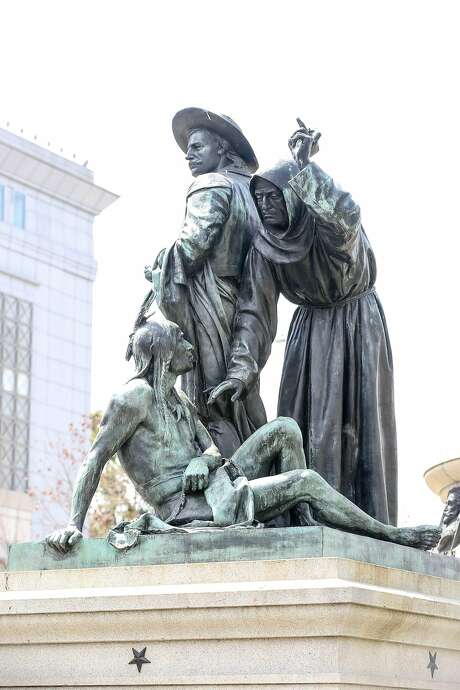 """The sculpture in question, """"Early Days,"""" (above) is part of a bigger work, the 800-ton Pioneer Monument, which sits between San Francisco's Main Library and the Asian Art Museum. Photo: Amy Osborne, Special To The Chronicle"""