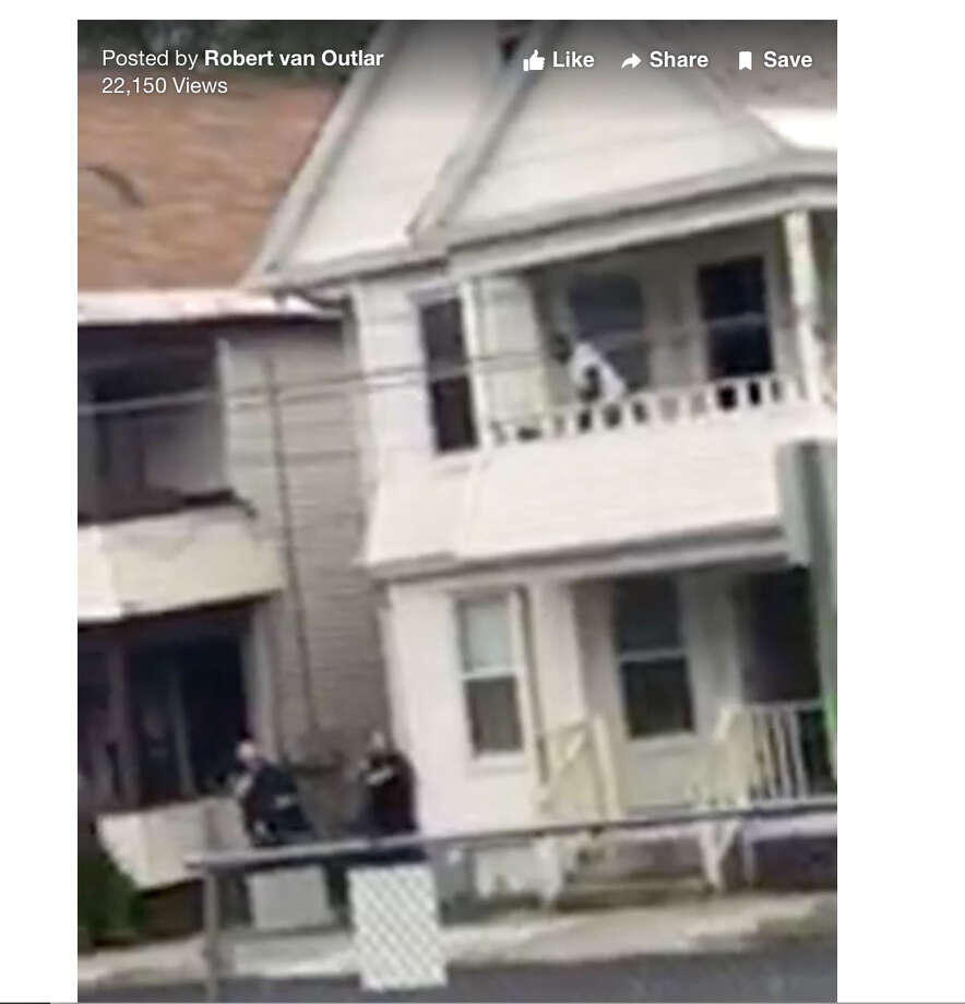 Frame grab from video posted on Facebook which filmed the Mumford Street shooting live on Monday, June 5, 2017, in Schenectady, N.Y.)