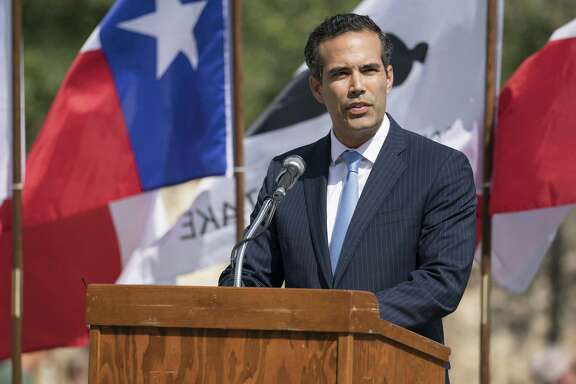 Texas Land Commissioner George P. Bush speaks during the conclusion of Cannon Fest on Oct. 2, 2017, at the Alamo in San Antonio.