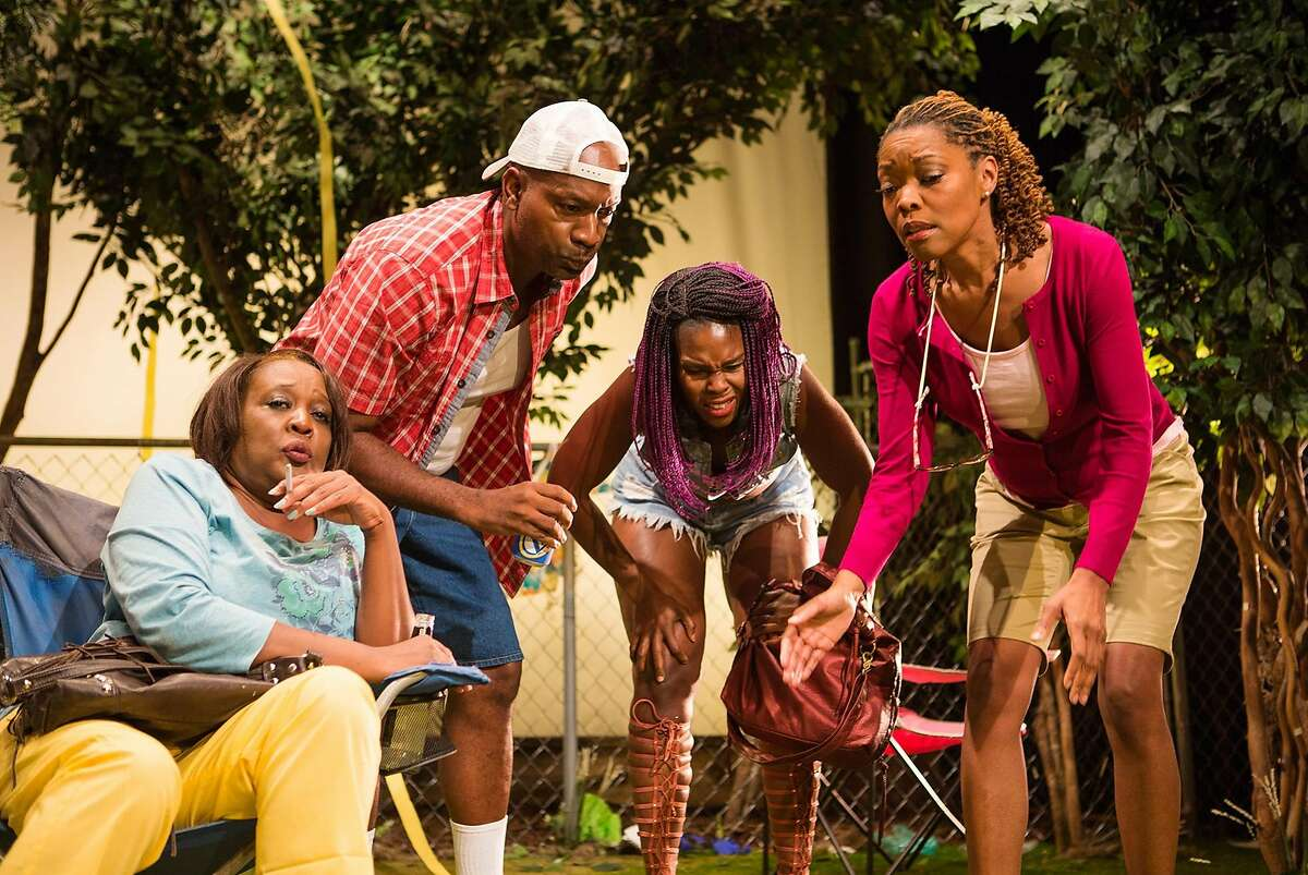 Lillie Anne (Halili Knox, far right) explains to, from left, Adlean (Edris Cooper-Anifowoshe), James T (Adrian Roberts) and Marie (Kehinde Koyejo) how an intervention works in