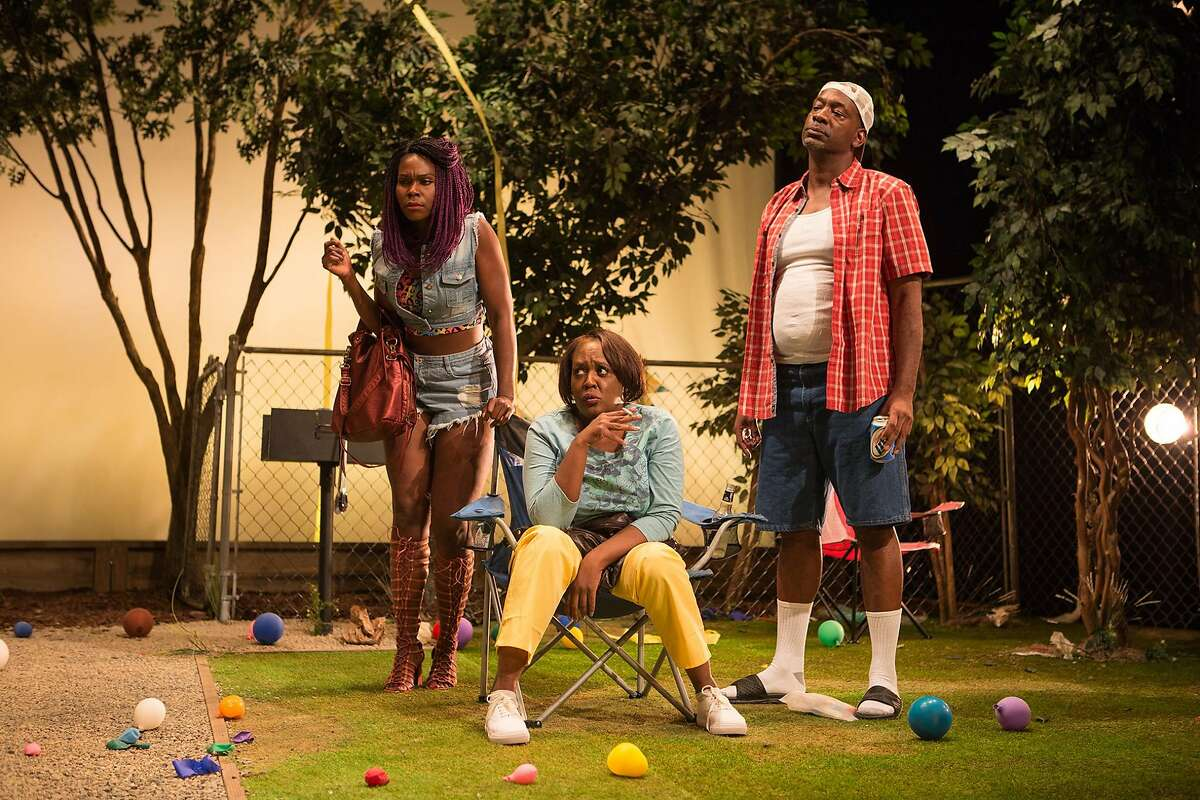 From left: Marie (Kehinde Koyejo), Adlean (Edris Cooper-Anifowoshe) and James T (Adrian Roberts) express skepticism in
