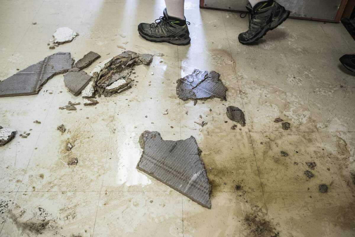 Debris is seen on the floor of A.G. Hilliard Elementary School, which was flooded by Tropical Storm Harvey, on Saturday, Sept. 2, 2017, in Houston. ( Brett Coomer / Houston Chronicle )