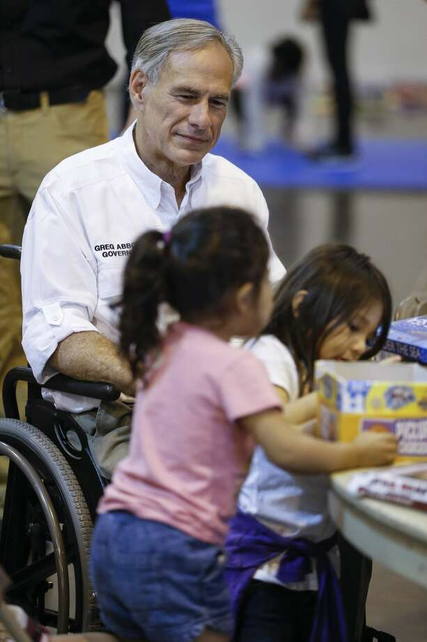 Texas Gov. Greg Abbott visits Hurricane Harvey evacuees at NRG Center in Houston on Saturday, Sept. 2, 2017. Photo: Michael Ciaglo/Houston Chronicle
