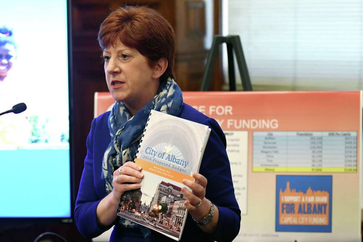 Albany Mayor Kathy Sheehan presents her 2018 budget proposal during a presentation at City Hall on Monday, Oct. 2, 2017, in Albany, N.Y. (Will Waldron/Times Union)
