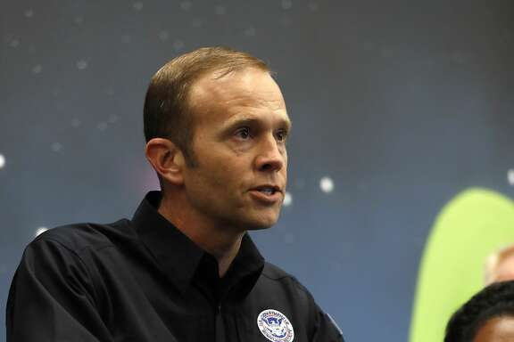 Brock Long, FEMA administrator speaks at the George R. Brown Convention Center, where the Red Cross had set up a shelter for those displaced by Tropical Storm Harvey, Friday, Sept. 1, 2017, in Houston.   ( Karen Warren / Houston Chronicle )