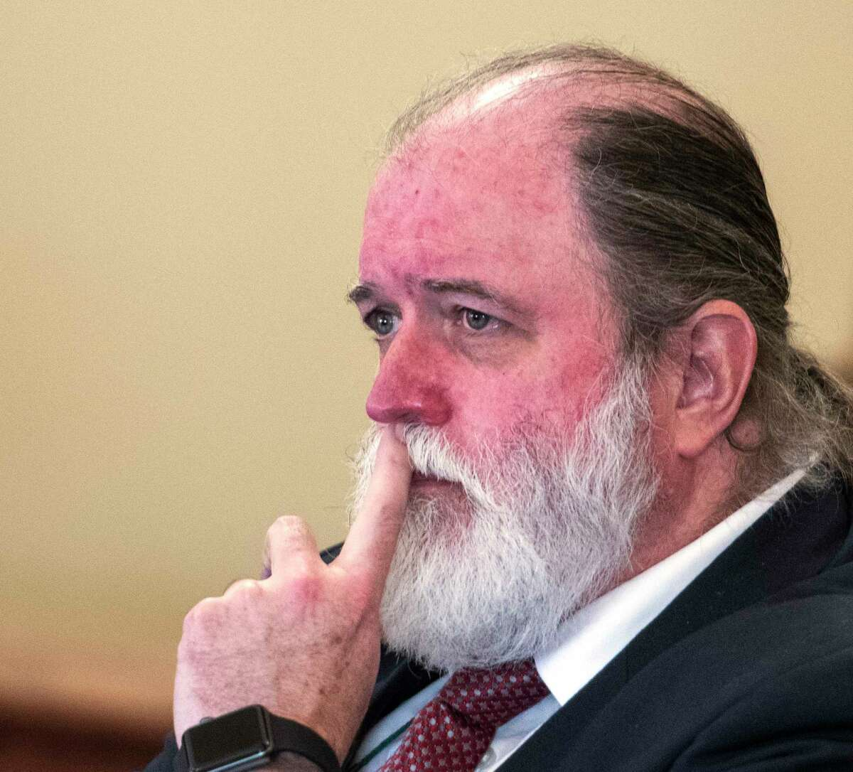Mike McDermott, attorney for Richard J. Wright who was sentenced for arson and double homicide 30 years ago sits in Rensselaer County Court where his client was granted a retrial as a result of new evidence by Judge Andrew Ceresia Monday Oct. 2, 2017 in Troy, N.Y. (Skip Dickstein/Times Union)