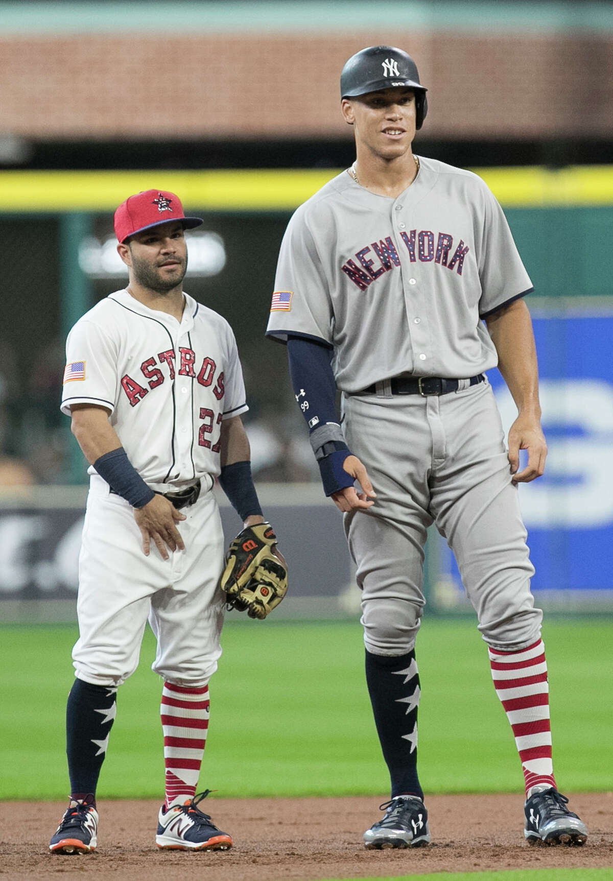 Astros second baseman Jose Altuve and Yankees slugger Aaron Judge were able to size each other up after New York's slugging rookie doubled in a July game at Minute Maid Park.