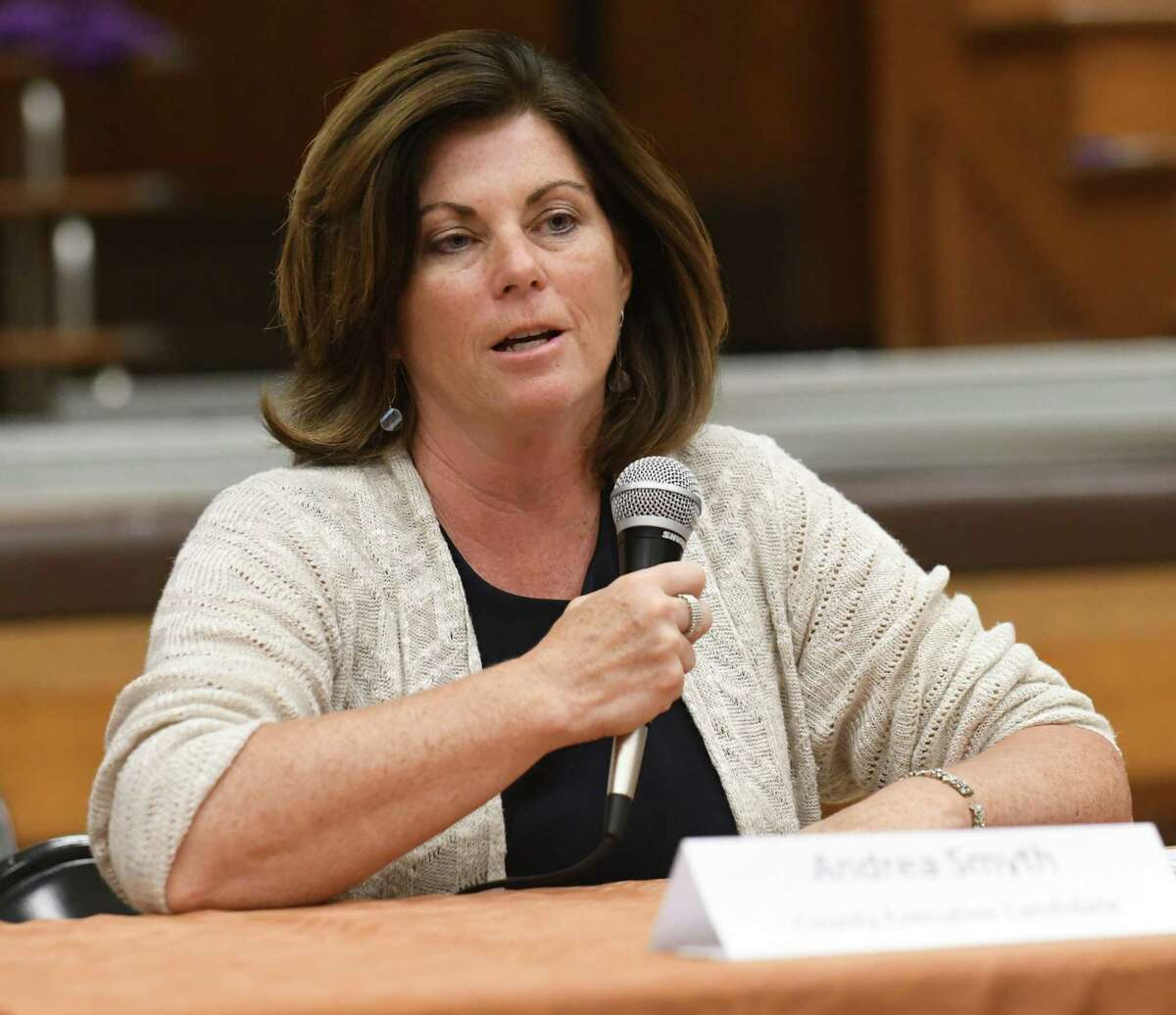 Rensselaer Co. Executive Democratic candidate Andrea Smyth speaks as she and Assemblyman Steven McLaughlin, the Republican candidate, answer questions at Troy candidates night sponsored by Troy Neighborhood Action Council at School 12 on Monday, Oct. 2, 2017 in Troy, N.Y. (Lori Van Buren / Times Union)