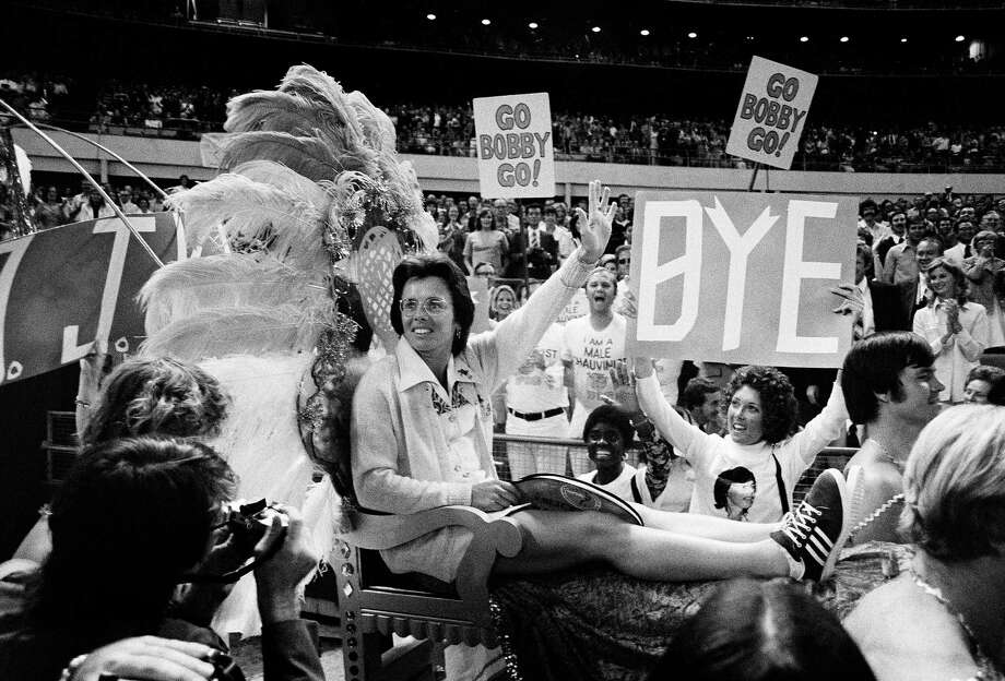 """Billie Jean King's victory over Bobby Riggs in the much-celebrated """"Battle of the Sexes"""" helped to promote the formation of the women's tennis tour and King's fight for equal prize money for women. Photo: Anonymous, STF / Copyright 2017 The Associated Press. All rights reserved."""