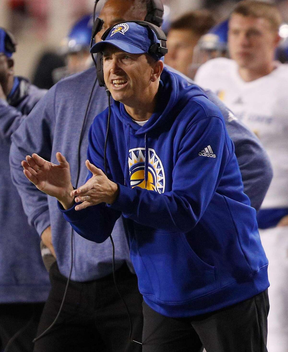 SALT LAKE CITY, UT - SEPTEMBER 16: Head coach Brent Brennan of the San Jose State Spartans urges his players on during the second half of an college football game against theUtah Utes on September 16, 2017 at Rice Eccles Stadium in Salt Lake City, Utah. Utah defeated San Jose 54-16. (Photo by George Frey/Getty Images)