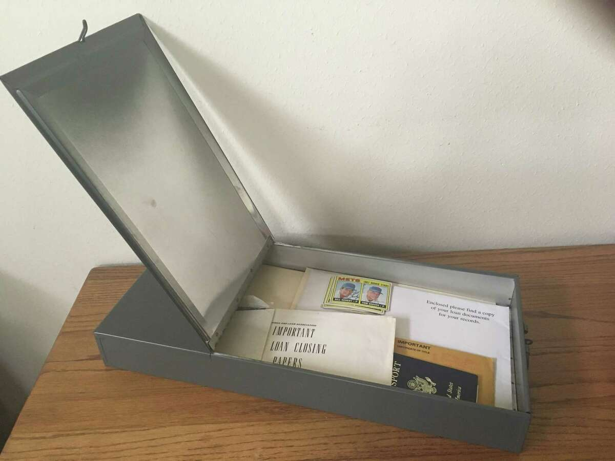 This safety deposit box came from Chase's Clear Lake City Boulevard branch, which was flooded by Hurricane Harvey. Chase moved safety deposit boxes from that branch and eight others that were closed by flooding to a location on Interstate 45 North, where customers went to retrieve their items.
