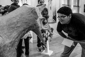 """Un joven viendo de cerca un modelo del Chupacabras de la exhibición """"Haunted Heritage"""" en el museo Villa Antigua."""