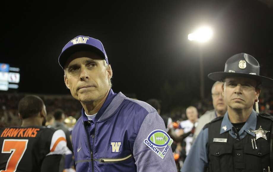 Washington head coach Chris Petersen after an NCAA college football game, in Corvallis, Ore., Saturday, Sept. 30, 2017. (AP Photo/Timothy J. Gonzalez) Photo: Timothy Gonzelez, Associated Press
