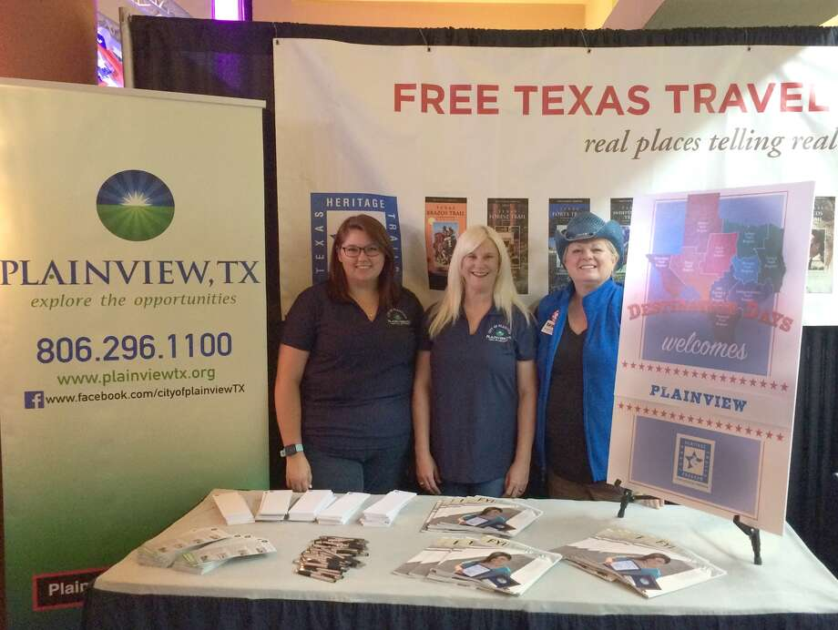 "Plainview Convention and Visitor's Bureau representatives Tori Huddleston (left) and Melinda Brown join with Texas Plains Trail Region Executive Director Barbara Brannon on Monday staffing the Texas Heritage Travel booth at the State Fair of Texas in Dallas. Monday, Oct. 2, was Plainview's ""Destination Day,"" with the booth featuring Plainview events and attractions."