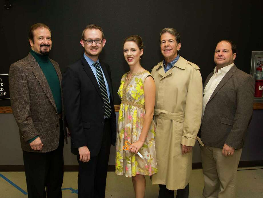 """Pictured from left are David Chapin, Philip Harris, Sarah Steindl, Todd Brady and Jeffrey Ott in The Players Theatre Company's """"Dial M for Murder."""" The show runs Oct. 20 through Nov. 4 at the Owen Theatre in downtown Conroe. Visit www.owentheatre.com for ticket information."""