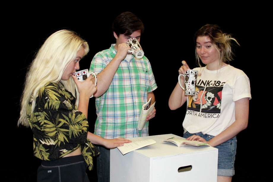 "From left to right: Madison Mapes, Shane Reynolds and Madelyn Lantrip) Students rehearse a scene from ""The Shape of Things"" playing at LSC-Montgomery's  Black Box Theatre Oct. 5-7 at 7 p.m. There will also be a special matinee Oct. 7 at 3 p.m."