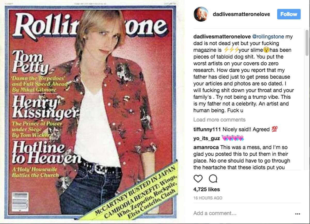 Tom Petty's daughter AnnaKim Violette shared a series of images with heartfelt messages in the hours after her father went into cardiac arrest Monday morning.