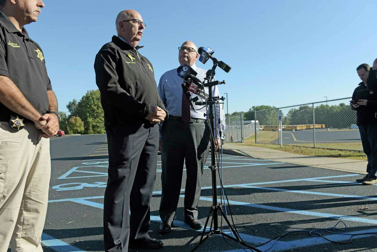 Saratoga County Sheriff Michael Zurlo, left, and Ballston Spa School District Superintendent Joseph Dragone speak to members of the media to discuss the schools being locked down on Tuesday, Oct. 3, 2017, in Ballston Spa, N.Y. (Paul Buckowski / Times Union)
