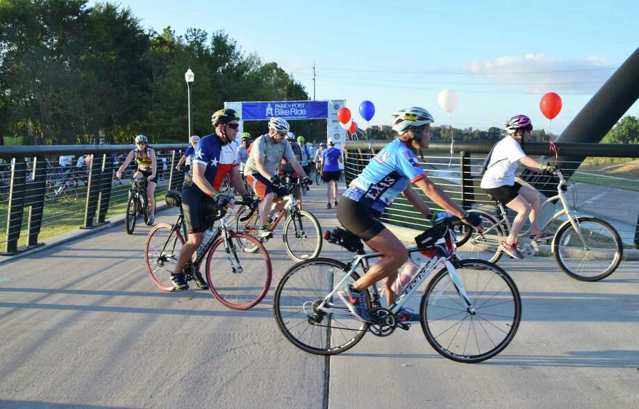Riders at a previous year's Park to Port bike ride. Photo: Hermann Park Conservatory
